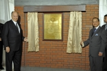 Mawlana Hazar Imam is joined by Bangladesh's Honourable Adviser for Foreign Affairs, Dr. Iftekhar Ahmed, in unveiling the plaque marking the foundation of the Ismaili Jamatkhana and Centre in Dhaka.