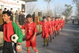 Members of one of Afghanistan's Ismaili football teams are applauded during the inauguration ceremonies.