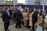 Leaders of the Jamat gather at the London Heliport as Mawlana Hazar Imam prepares to depart the United Kingdom.