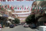 Ass'en Street in Salamieh decorated in green, red and golden colours to welcome Mawlana Hazar Imam.