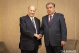 Mawlana Hazar Imam with President Rahmon of Tajikistan ahead of the Paris Peace Forum.