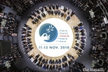 The official photograph of the participants at the opening session of the inaugural Paris Peace Forum.