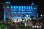 Yuwan Jamatkhana in Mumbai decorated with lighting to celebrate Mawlana Hazar Imam's visit to India