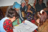 In the Ghund Valley of Shugnan district in 2004, community members engage in a mapping exercise to gauge their preparedness for potential disasters.
