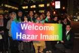 A group of Ismailis in Vancouver hold a banner welcoming Mawlana Hazar Imam to the city on the occasion of his Golden Jubilee visit to Canada.