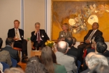 The panellists engage in discussion. From left to right: Dan Smith, Lord Adair Turner, Camilla Toulmin, Dr Salim Sumar.