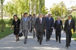 Mawlana Hazar Imam arrives at Khorog Park together with the First Deputy Prime Minister of Tajikistan and the Governor of Gorno-Badakhshan Autonomous Oblast. They are accompanied by the General Manager of the Aga Khan Trust for Culture and the AKDN Reside