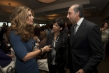 California First Lady Maria Shriver converses with Dr Mahmoud Eboo, President of the Ismaili Council for the USA and Dr Shaheen Kassim-Lakha, President of the Ismaili Council for the Western United States, at the Sponsors' Reception for the Women&rs