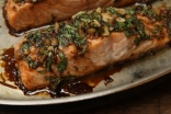 Honey baked salmon, smothered in an aromatic mixture of honey, fresh garlic and ginger, soy sauce, coarse grain mustard, and balsamic vinegar