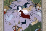 A scene from the Shahnama: Rustam pursues Akvan the Onager-Div.