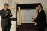 Prime Minister Stephen Harper and Mawlana Hazar Imam applaud after unveiling the plaque commemorating the Foundation of the Ismaili Centre, Toronto, the Aga Khan Museum and their Park.