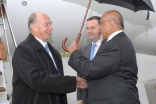 Upon his arrival in Ottawa, Mawlana Hazar Imam is greeted by Federal Minister Jason Kenney and President Mohamed Manji of the Ismaili Council for Canada.