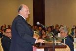 Mawlana Hazar Imam addresses those gathered at the Uganda institutional leadership dinner.