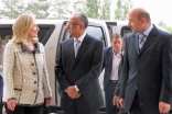 US Secretary of State Hillary Clinton arrives at the Ismaili Centre, and is received by AKDN Resident Representative Munir Merali and Muzaffar Djorubov, Executive Officer of the Ismaili Centre, Dushanbe.