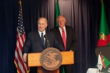 Standing with Illinois Governor Pat Quinn, Mawlana Hazar Imam speaks at the signing of an Agreement of Cooperation between the State of Illinois and the Ismaili Imamat on 4 November 2011.