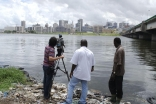Preparing to capture the Abidjan skyline as part of a documentary feature.