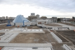 Jan 2012: A view of the Ismaili Centre, Toronto, with concrete structures for the garden water features prominent in the foreground.