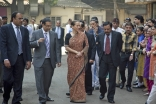 Accompanied by the Chairman of AKHS, India and members of the Prince Aly Khan Hospital management team, Princess Zahra tours the Aga Hall Estate — the grounds on which the hospital stands.