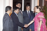 Princess Zahra is greeted by Jamati leaders at an institutional dinner held in her honour in Mumbai.