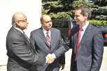 Presidents Mohamed Manji and Karim Sunderji of the Ismaili Councils for Canada and Ontario receive Premier Dalton McGuinty upon his arrival at Headquarters Jamatkhana in Toronto.