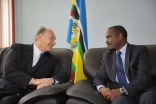 Mawlana Hazar Imam and Ambassador Richard Sezibera, Secretary General of the East African Community, meeting at the EAC headquarters in Arusha.