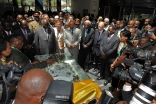 Mawlana Hazar Imam and other leaders are briefed about the new EAC headquarters building.