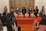 Panelists share their thoughts at the Techovation Challenge launch hosted by the Aga Khan Education Board for Canada. From left to right: Kimberly Voll, Shaherose Charania, Louise Turner, Frenny Bawa, Alexandra Fedorova, Karimah Es Sabar, and Cybele Negri