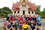 The group gathered in front of Wat Phrabuddhasrisongkhlanakarin, an ornate Buddhist shrine at the centre of Songkhla in southern Thailand.