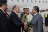 Mawlana Hazar Imam is greeted by the Foreign Minister of Bangladesh, Dr Dipu Moni, and the Ambassador at Large from the Prime Minister's Office, Mohammad Ziauddin, upon his arrival in Dhaka.