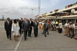 Traditional dancers welcome Mawlana Hazar Imam to Mozambique.