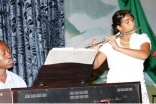 Sophia Karmali (flute) and Job Tezigatwa  (piano) from the Kampala Music School perform during the Ismaili Young Achievers Programme.