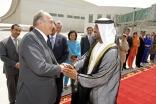 His Highness Sheikh Ahmed bin Saeed Al Maktoum bids farewell to Mawlana Hazar Imam at the Royal Terminal of Dubai International Airport, as members of the Jamati leadership look on.