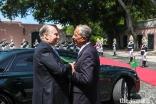 President Marcelo Rebelo de Sousa welcomes Mawlana Hazar Imam to Palácio de Belém.
