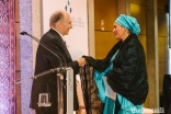 Mawlana Hazar Imam welcomes Deputy Secretary-General of the United Nations Amina J. Mohammed to the stage to deliver the Annual Pluralism Lecture.