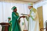 An AKU graduand in Dar es Salaam receives her degree from Mawlana Hazar Imam, the Chancellor of the Aga Khan University. AKDN / Aly Ramji