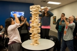 Athletes enjoy a game of Jenga at the athlete mixer at USIG 2015. The mixer offers an opportunity for athletes to bond with athletes from other regions. Zohaib Ali