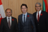 Prime Minister Justin Trudeau with AKDN Representative Dr Mahmoud Eboo and Ismaili Council President Malik Talib at the Delegation of the Ismaili Imamat in Ottawa. AKDN