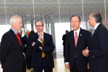 UN Secretary-General Ban Ki-moon with AKDN Representative Dr Mahmoud Eboo, Global Centre for Pluralism Secretary-General John McNee, and Canadian Foreign Affairs Minister Stéphane Dion, at the Delegation of the Ismaili Imamat in Ottawa. AKDN / Safiq Devji