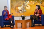 Nurjehan Mawani and Meena Baktash in conversation at the International Women's Day talk held at the Ismaili Centre, London. Ismaili Council for the UK / Jahanara Mirzai