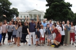 Jamati members stand with the Fanous outside the White House in Washington, DC. JG/TheIsmaili.org
