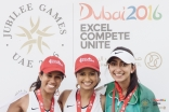 Myra Ladkawala (right) stands with fellow athletes Saira Babul (center) and Safia Ladha (left) at the 2016 Jubilee Games. JG/Farhez Rayani
