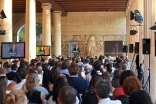 Mawlana Hazar Imam delivers a keynote speech at the 2015 Athens Democracy Forum held in the Stoa of Attalos. AKDN / Gary Otte