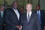 At Entebbe, Mawlana Hazar Imam is received by Uganda's acting Minister of Foreign Affairs, Hon Oryem Okello. MOFA / Fahad Mugga