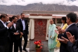 Princess Zahra and Prince Rahim unveil a plaque to mark the inauguration of the Aga Khan Medical Centre in Gilgit. Rizwan Jamil Jaffery