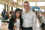 "Sanya received the ""2018 Be the Change award,"" and is seen here with her school Principal,Mr. Sasha Kuznetsov."