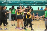 Participants congratulate each other at the Netball competition during the European Sports Festival 2019.