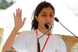Ruhina Virjee leads the recitation of the athletes' oath at the opening of the Ismaili Games Kenya 2015. Ejaz Karmali