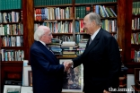 Mawlana Hazar Imam is received by His Excellency President Michael Higgins of Ireland at Áras an Uachtaráin.