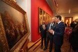 "Prince Amyn and Museum Director António Filipe Pimentel discuss Sequeira's ""Adoration of the Magi"". The Aga Khan Foundation is supporting the Museum's campaign to acquire the national treasure. José Caria"