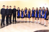 The Ismaili Muslim Youth Choir in the Plano Jamatkhana lobby for its performance.